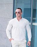 Рубашка мужская  песочная  Slim Fit с воротником стойкой., фото 3