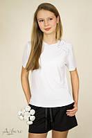 Школьная трикотажная  футболка белый р. 122,128, 134, 140, 146, 152, 158, фото 1