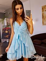 Платье женское стильное красивое на запах с воланами сетка в горошек разные цвета Smb3598, фото 1