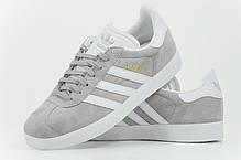 Женские кроссовки Adidas Gazelle W (Mid Grey/Ftwr White/Gold Metallic) BY2852, Адидас Газели, фото 3