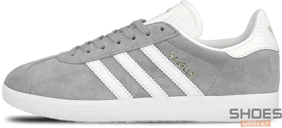 Женские кроссовки Adidas Gazelle W (Mid Grey/Ftwr White/Gold Metallic) BY2852, Адидас Газели