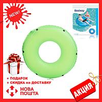 Детский надувной зеленый круг с канатом BESTWAY 36120   надувной круг для детей 119 см