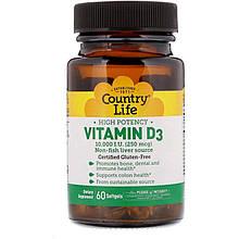 "Витамин D3 Country Life ""Vitamin D3"" 10000 МЕ (60 капсул)"