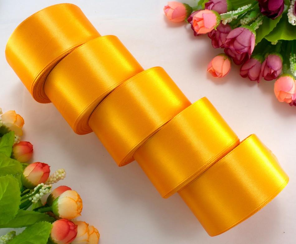"""(5 рулонов) Лента атласная 4см ширина (25 ярдов) """"LiaM"""" Цена за блок Цвет - Светлый оранжевый"""
