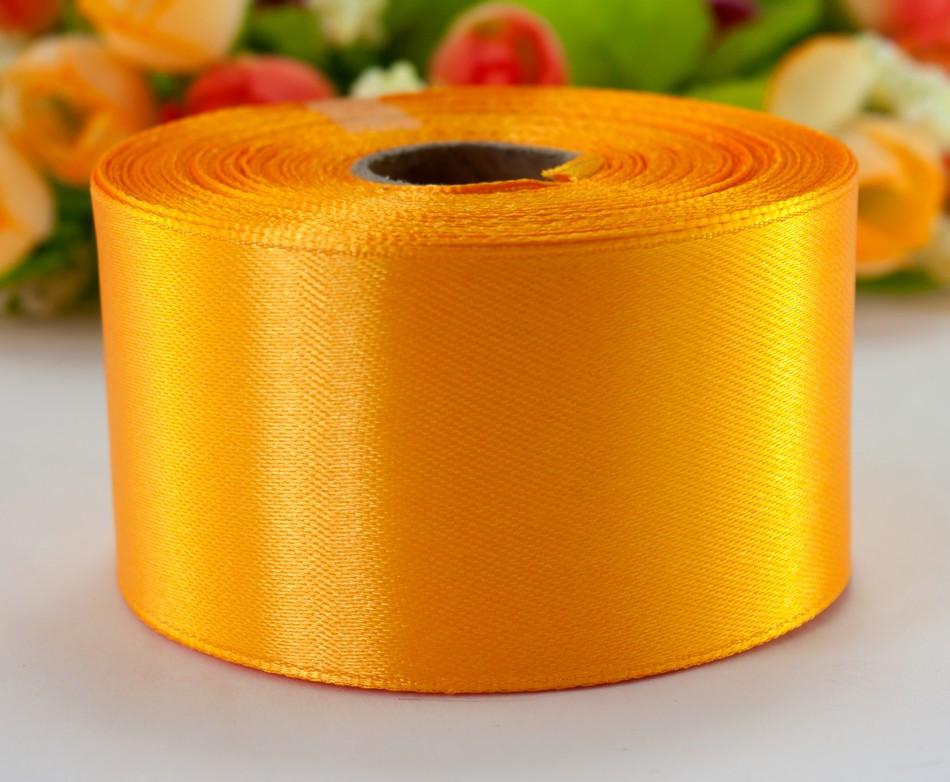 "Лента атласная 4см ширина (25 ярдов) ""LiaM"" Цена за рулон. Цвет - Светлый оранжевый"