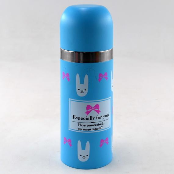 Вакуумный детский металлический термос BENSON BN-55 голубой (350 мл)   термочашка LOVE