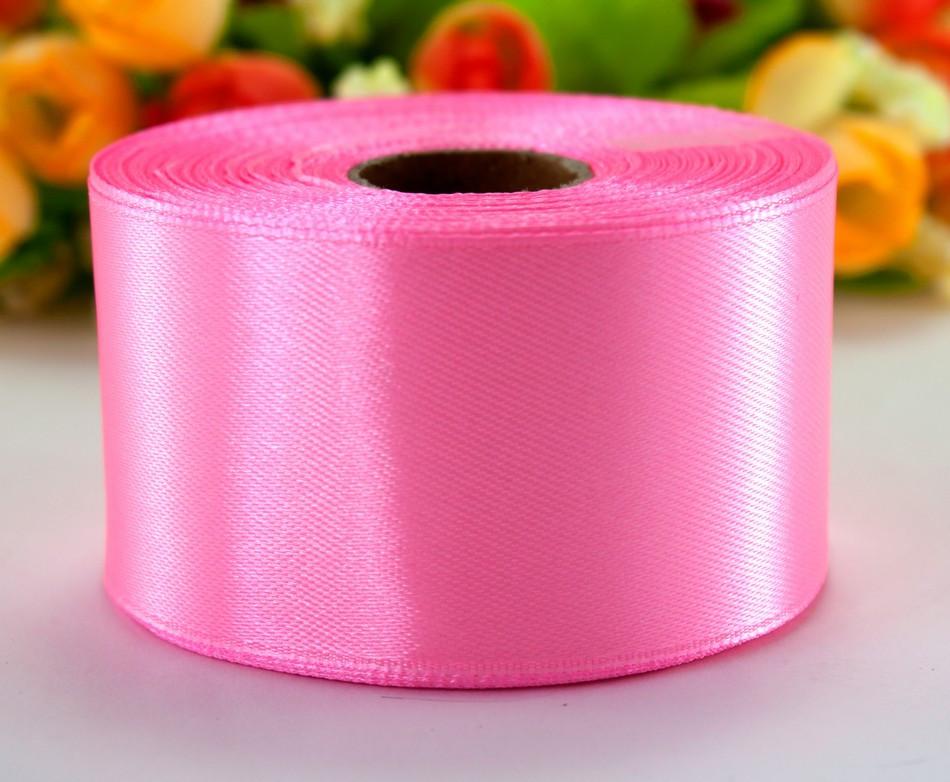 "Лента атласная 4см ширина (25 ярдов) ""LiaM"" Цена за рулон. Цвет - Розовый"