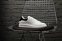 Кроссовки женские в стиле Alexander McQueen, натуральная кожа, код KS-1250. Белые с черным 38