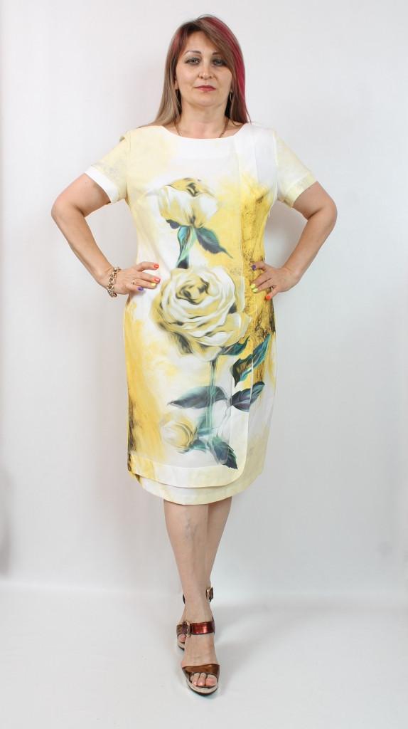 Турецкое летнее женское платье с цветочным принтом, 50-56