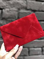 Бархатный конверт С6 красный 120г/м2
