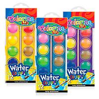 Краски акварельные большие таблетки с кисточкой, 12 цветов, Colorino