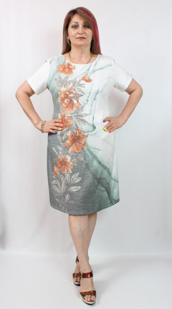 Турецкое летнее платье с цветочным принтом, 50-56