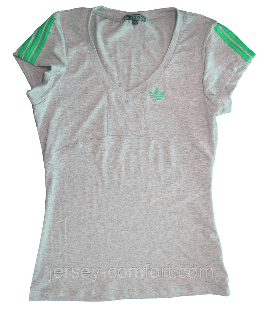 Футболка женская спортивная трикотаж. Зеленый лампас