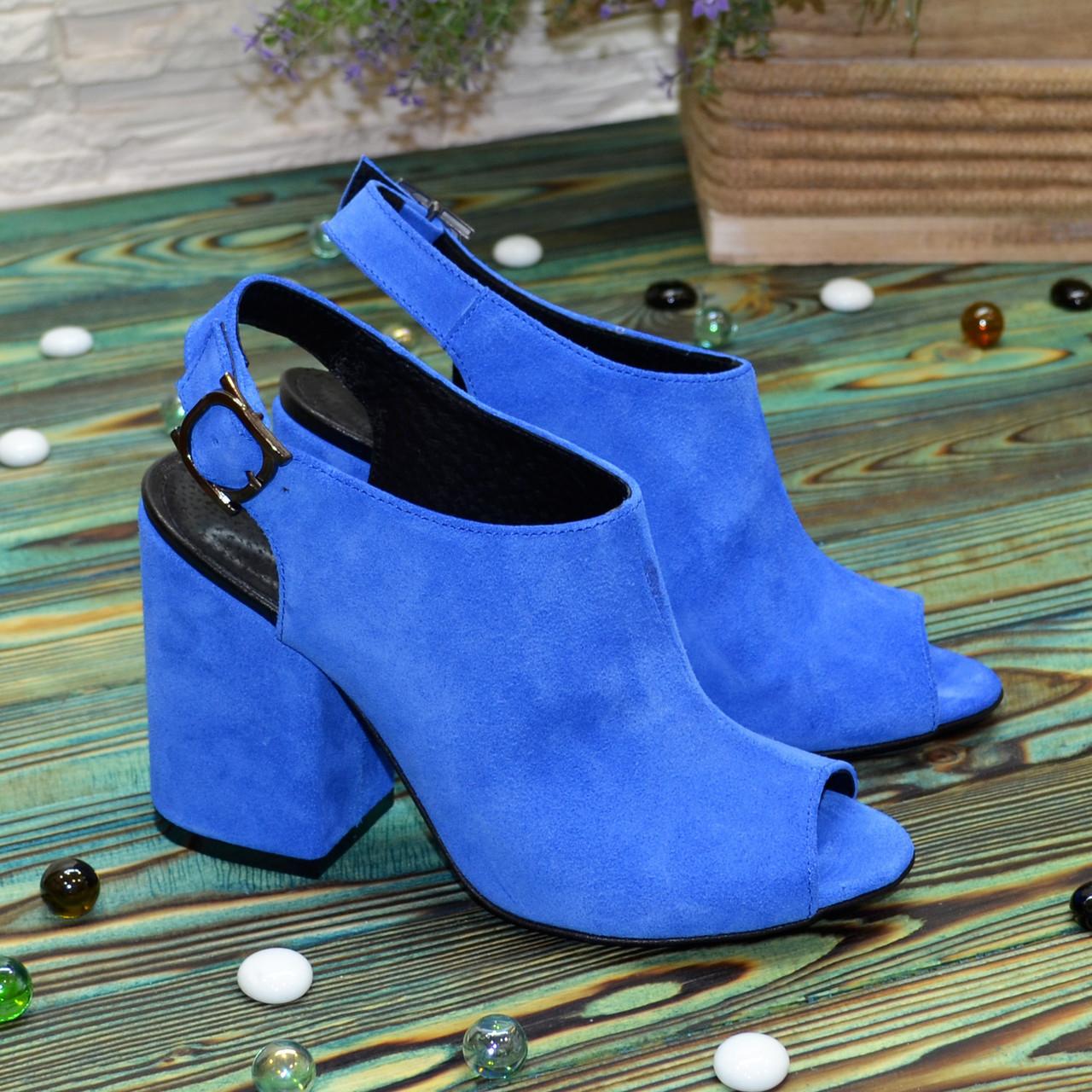 Женские замшевые босоножки на устойчивом каблуке, цвет электрик. 37 размер
