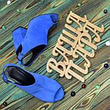 Женские замшевые босоножки на устойчивом каблуке, цвет электрик. 37 размер, фото 4