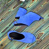 Женские замшевые босоножки на устойчивом каблуке, цвет электрик. 37 размер, фото 5