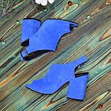 Женские замшевые босоножки на устойчивом каблуке, цвет электрик. 37 размер, фото 6