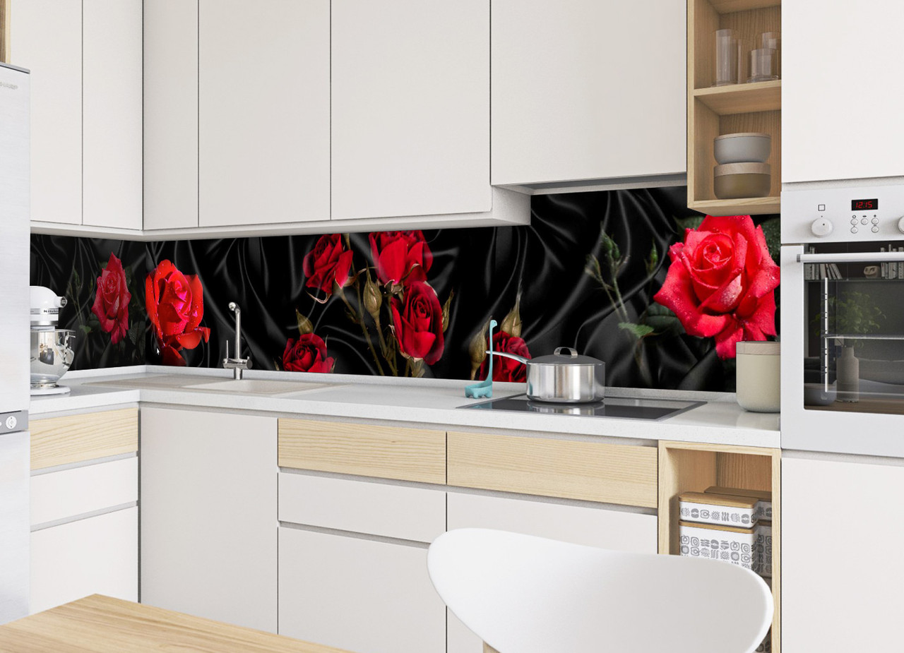 Скинали на кухню Zatarga   Zatarga  Роза Tassin 600х2500 мм красный виниловая 3Д наклейка кухонный фартук