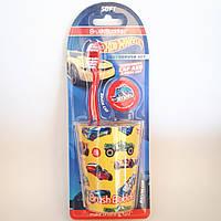 Детская зубная щетка, чехол и стильный стаканчик от Hotwheels США