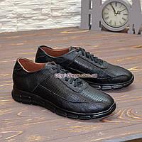 Кроссовки мужские кожаные на шнурках, цвет черный. 40 размер