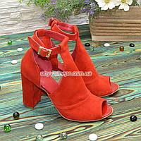 Женские замшевые босоножки на устойчивом каблуке, цвет красный. 38 размер