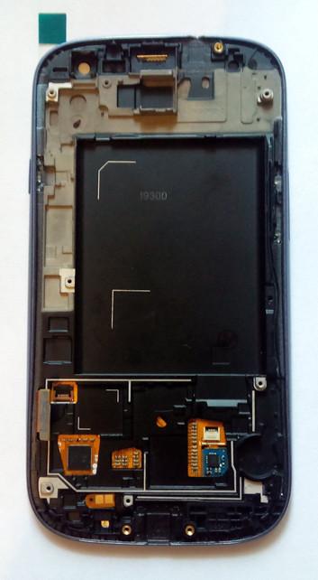 Дисплей модуль Samsung i9300 S3 GT-i9300 в зборі з тачскріном, блакитний, з рамкою