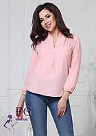 Женская блуза с воротником и рукавом три четверти