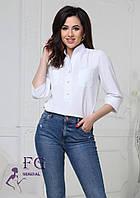 Женская белая блуза прямого кроя