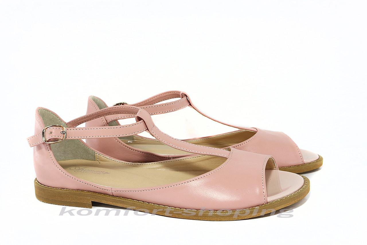Женские босоножки кожаные, розовые V 922