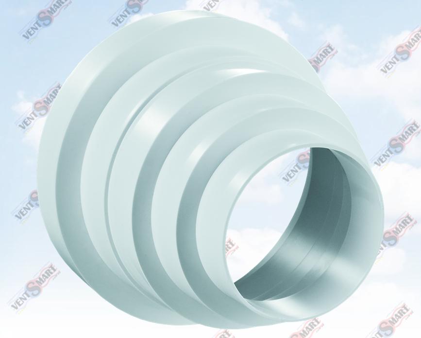 Внешний вид переходника вентиляционного универсального (универсальный редуктор 310) для круглых пластиковых вентиляционных труб ПЛАСТИВЕНТ и гофрированных труб ПОЛИВЕНТ, АЛЮВЕНТ производства ВЕНТС (Украина). Вентиляционный универсальный соединитель-редуктор (переходник для труб вентиляции универсальный) системы Пластивент изготовлены из пластика высокого качества, который не поддерживает горение и имеет широкий температурный диапазон эксплуатации ― от минус 30 до плюс 70 градусов Цельсия.