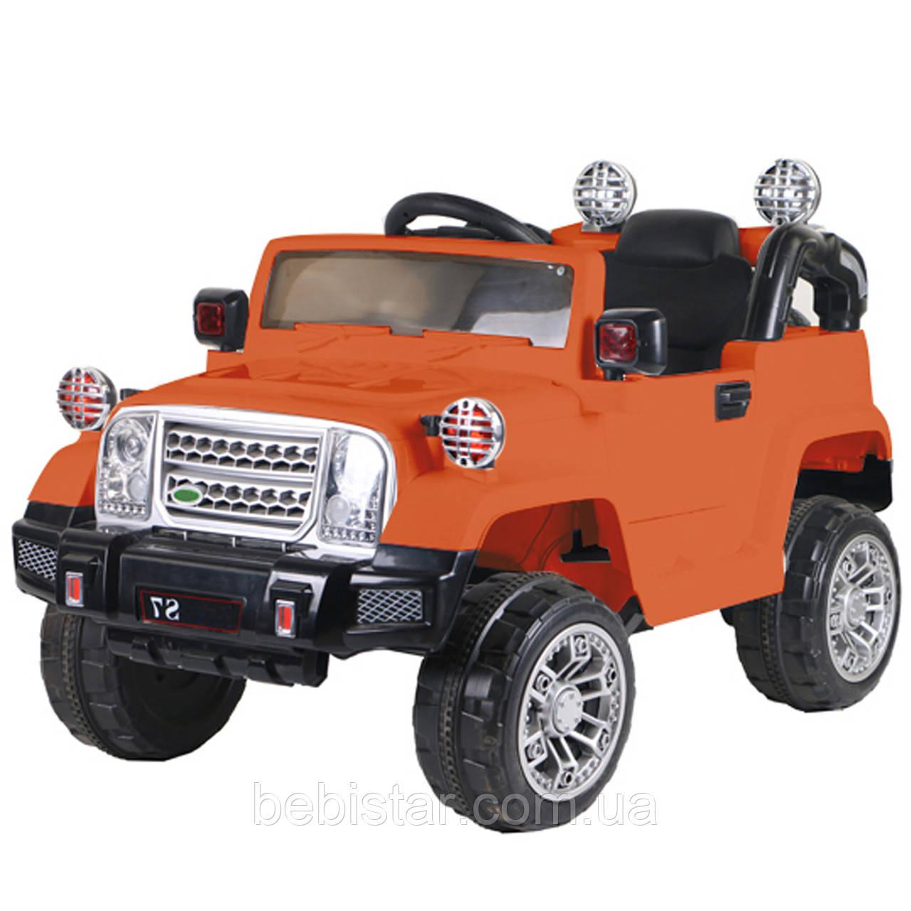 Электромобиль Джип детский оранжевый от 3-х до 8-ми лет с пультом мотор 2*20W батарея 2*6V4.5AH