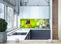 """Скинали на кухню Zatarga """"Бабочка"""" 600х2500 мм салатовый виниловая 3Д наклейка кухонный фартук самоклеящаяся"""