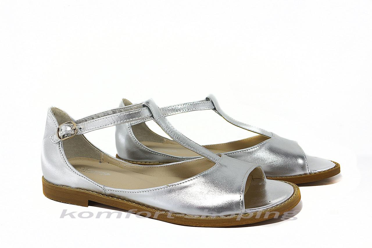 Женские босоножки кожаные, серебряные V 922