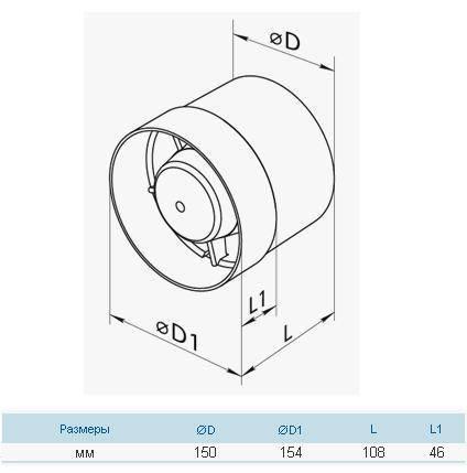 Бытовой канальный вентилятор Вентс 150 ВКО турбо (358 куб.м./час), фото 2
