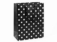 Подарочный Пакет Черный Горошек 24 см, Подарунковий Пакет Чорний Горошок 24 см