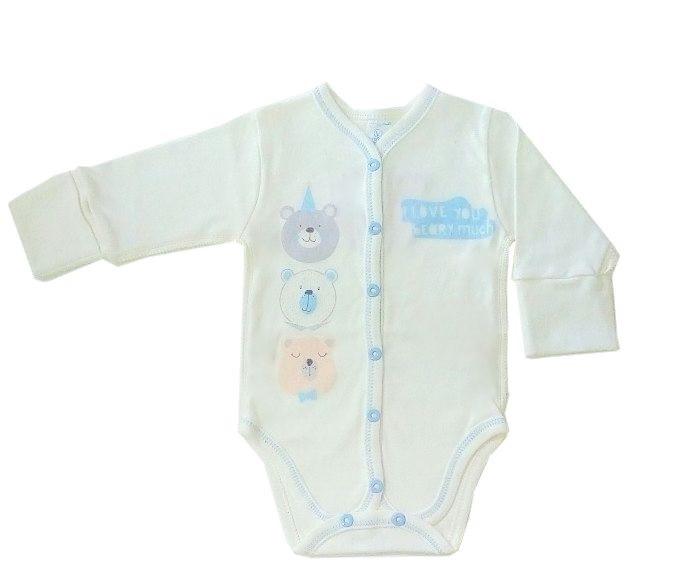 Боди для новорожденных Veres Beary much blue интерлок молочный