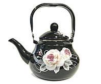 Эмалированный чайник с подвижной ручкой Benson BN-101 черный с рисунком (1,5 л), фото 1