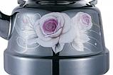 Емальований чайник з рухомою ручкою Benson BN-107 чорний з малюнком (3.3 л), фото 4