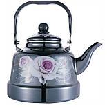 Емальований чайник з рухомою ручкою Benson BN-107 чорний з малюнком (3.3 л), фото 5