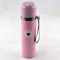 Вакуумный детский металлический термос BENSON BN-56 розовый (350 мл) | термочашка