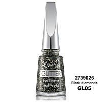 Глітерний лак для нігтів, Flormar, GL05 Black diamonds, 11 мл