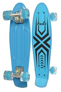 Скейт (пенни борд) Penny board со светящимися колесами ГОЛУБОЙ АБСТРАКЦИЯ арт. 0749-1