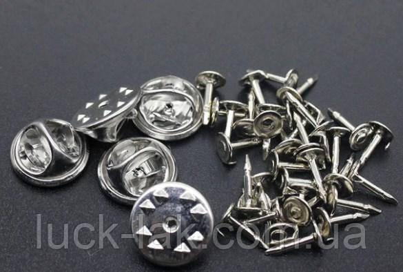 Застёжка основа для пинов, значков набор 25 шт., серебро