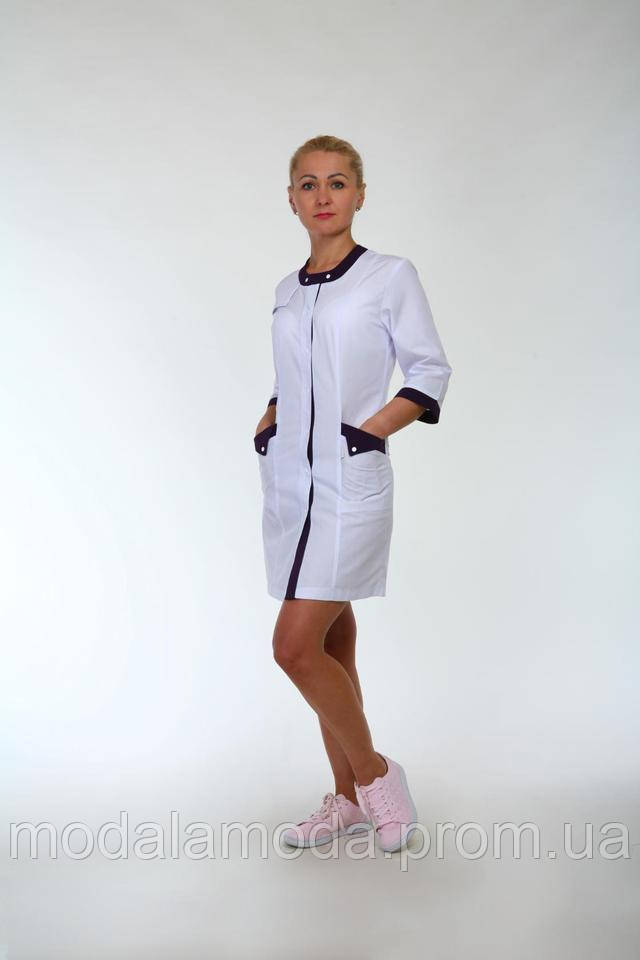 Халат медицинский женский короткий с красивыми вставками