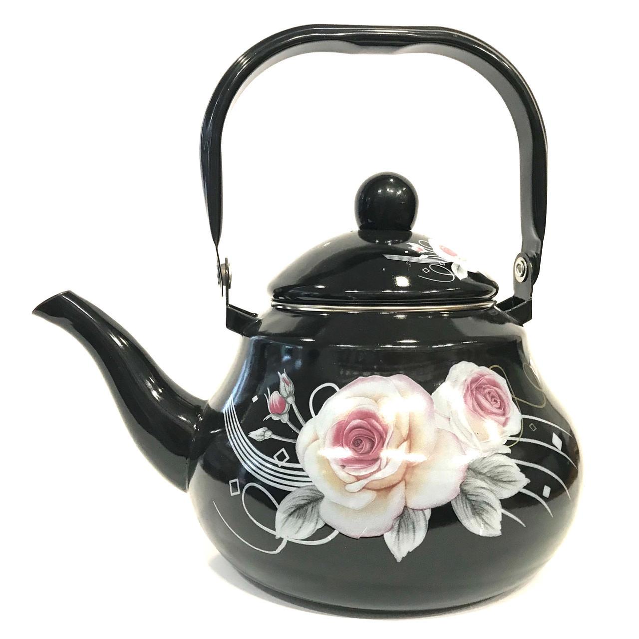 Эмалированный чайник с подвижной ручкой Benson BN-102 черный с рисунком (2 л)
