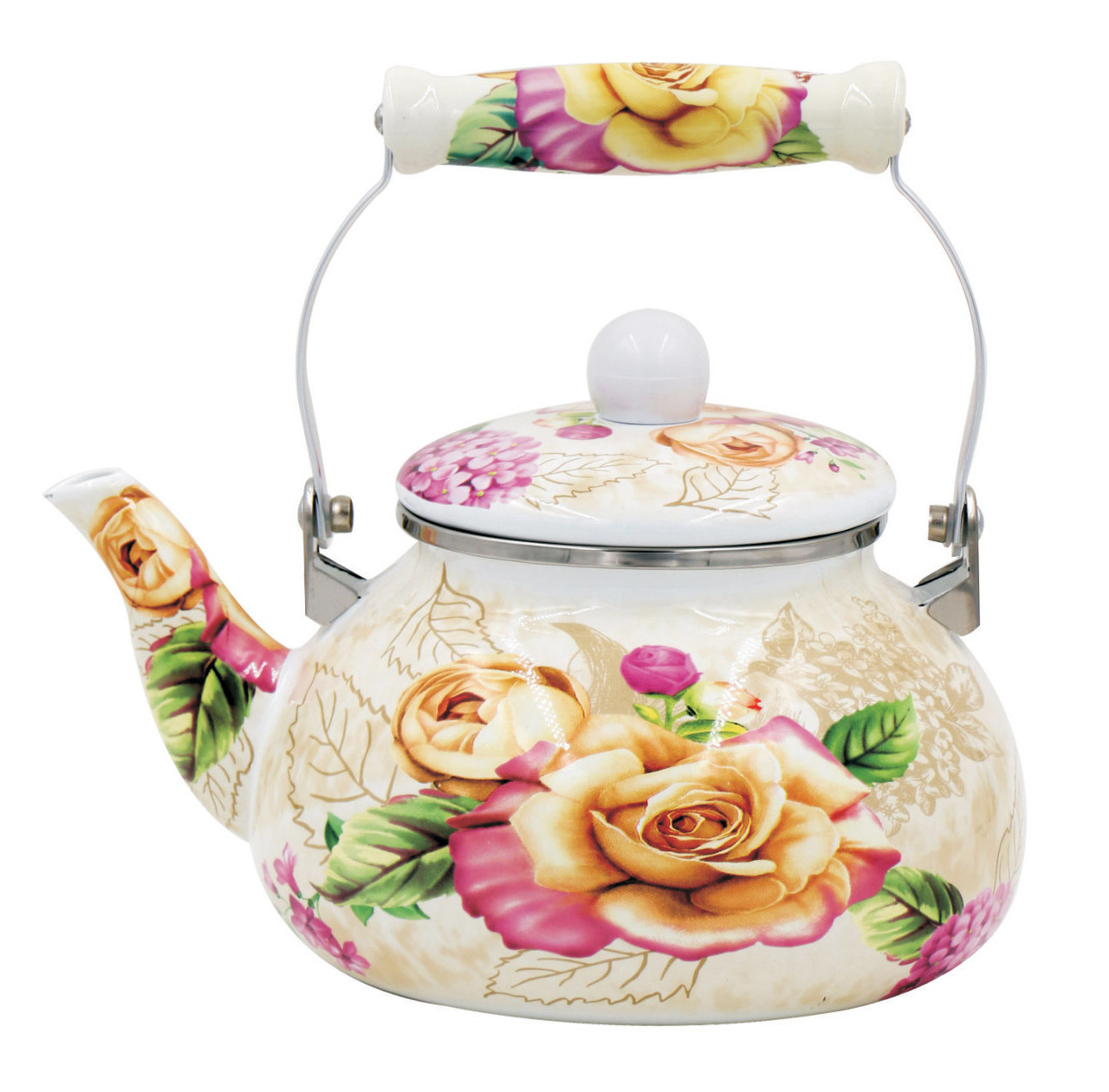 Эмалированный чайник с подвижной керамической ручкой Benson BN-108 белый с рисунком (2.5 л)