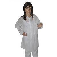 Защитный халат из нетканого материала для посетителя на кнопках Medicom Белый