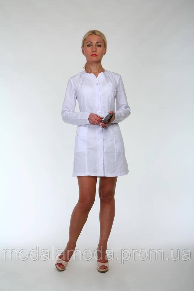Халат медицинский женский однотонный с  длинным рукавом