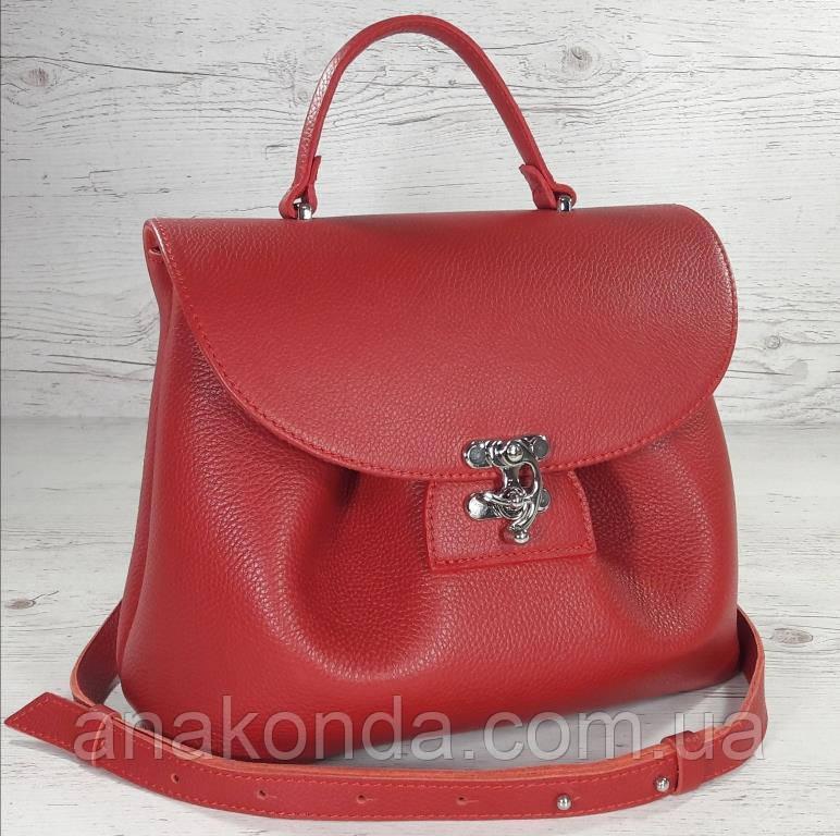 552-1 Натуральная кожа, Сумка женская красная на поворотном замке Сумка кожаная сумка красная сумка кожаная