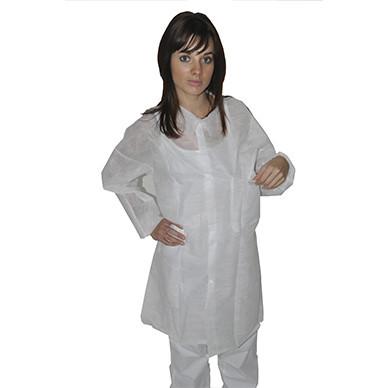 Защитный халат из нетканого материала для посетителя на кнопках Medicom Белый 10 УП 10 ШТ